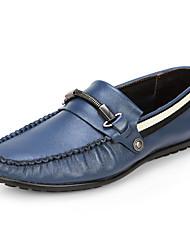 Serene® Men's Cowhide Loafers / Boat Shoes / Slip-on Blue / Dark Green-5178