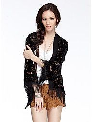 mulheres heartsoul de sair / ocasional blusa primavera / verão / outono do vintage / diária, assimétrico ¾ manga de nylon preta sólida fina