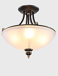 4 Heads Retro Country Style Flush Mount Ceiling Fixture Glass Shade Living Room Bedroom Kitchen Entry Hallway