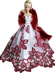 Fiesta y Noche Vestidos por Muñeca Barbie Blanco / Rojo tinto Vestidos