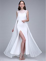 Lanting Bride® Ankle-length Chiffon / Jersey Bridesmaid Dress Sheath / Column Bateau with