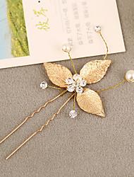 Women's Rhinestone / Brass / Alloy / Imitation Pearl Headpiece-Wedding Hair Pin 1 Piece