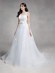 Ball Gown Wedding Dress-Ivory Chapel Train Scoop Tulle