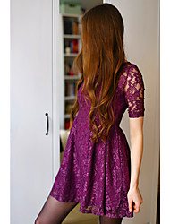Women's Casual / Day Plus Size Dress , Round Neck Above Knee Cotton
