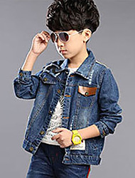 Boy's Cotton Spring/Fall Fashion Patchwork Printing Jeans Coat