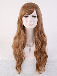 Capless Brown Color High Quality Natural Curly Synthetic Wig