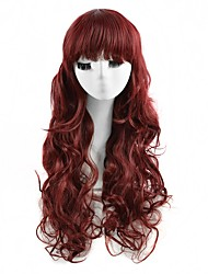 Cosplay Wigs Red Color Synthetic Cheap Wave Wigs Fashion Wigs