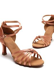 Non Customizable Women's Dance Shoes Satin Satin Latin Heels Low Heel Practice / Performance Black / Silver / Gold
