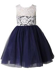 Un vestito dalla ragazza di fiore della lunghezza del ginocchio a-line - collo del merletto sleeveless del merletto del merletto con il merletto