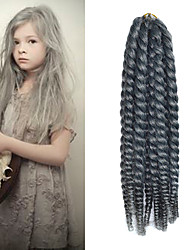 "Grey 12"" Kid's Kanekalon Synthetic 2X Havana Mambo Twist 100g Hair Braids with Free Crochet Hook"
