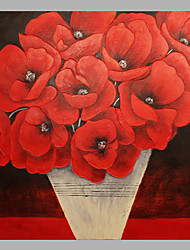 IARTS Red Poppies Painting In Vase Acrylic Artworks Stretchered Ready to Hang