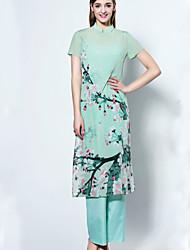De las mujeres Corte Ancho Vestido Noche Sofisticado,Estampado Escote Chino Hasta la Rodilla Manga Corta Verde Seda Verano