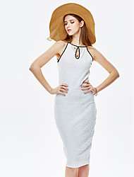 HEARTSOUL Women's Going out Sexy Sheath Dress,Solid Off Shoulder Knee-length Sleeveless White Summer