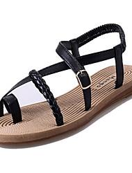 Women's Summer Open Toe PU Casual Flat Heel Black / White
