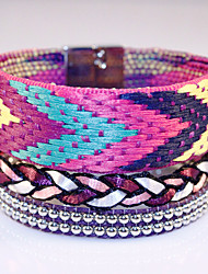 Femme Bracelets Bracelets en cuir Cuir Strass Alliage Mode Bohême Adorable Forme Géométrique LED 7 couleurs Bijoux 1pc