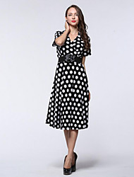 Women's Holiday / Plus Size Boho Loose Dress,Polka Dot V Neck Knee-length Short Sleeve Black Spandex Summer