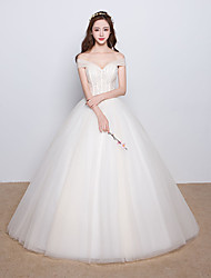 Ball Gown Wedding Dress Vintage Inspired Floor-length Off-the-shoulder Satin Tulle with Beading Crystal