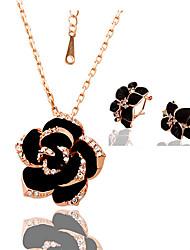 Women's Fashion Camellia Necklace Earrings Set