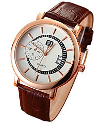 Men's Calendar White/Black Case Black/Coffee Leather Band  Dress Wrist Watch