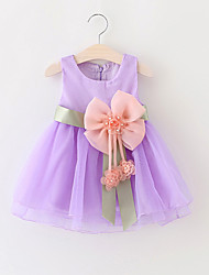 Baby Girls Party/Cocktail Lovely Solid Dress, Summer / Spring / Fall Blue / Green / Pink / Purple / Yellow Clothing