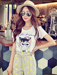 Pink Doll® Women's Casual Print Round Neck Short Sleeve T Shirt White-X15BTS052