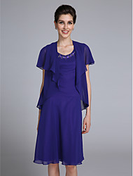 LAN TING BRIDE Sheath / Column Mother of the Bride Dress - Convertible Dress Knee-length Short Sleeve Chiffon with Beading
