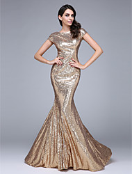 TS Couture® Formal Evening Dress Trumpet / Mermaid Bateau Court Train Sequined with Sequins