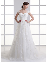 A-line Wedding Dress Court Train Off-the-shoulder Organza with Appliques / Beading