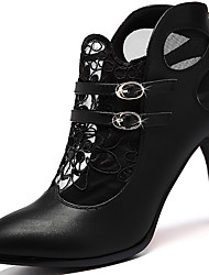 Women's Shoes Lace Spring / Summer/Fall Heels Heels Office & Career /Party & Evening/Casual Stiletto Heel Flower Black
