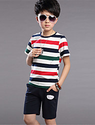 Boy's Cotton Clothing Set,Summer Color Block