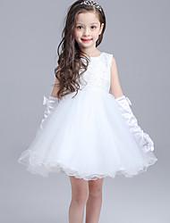 2017 robe de bal robe longueur genou fille fleur - dentelle / organza manches bijou avec un arc (s) / dentelle