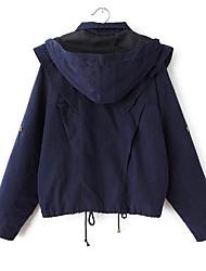 Damen Solide Street Schick Ausgehen Jacke,Mit Kapuze Frühling Langarm Blau / Grün Polyester Mittel