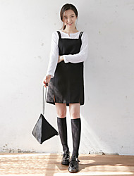 Women's Casual/Daily Simple Little Black Dress,Solid Strap Mini Sleeveless Black Cotton Summer