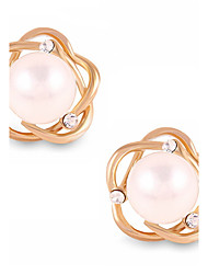 Fashion Elegant Round Pearl Hollow Flower Gold Stud Earrings