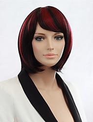 женские черные моменты красный короткий боб прямой сопротивление поддельные волосы тепла полный парик