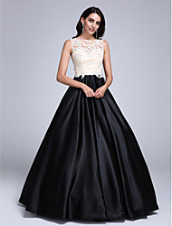 Ball Gown Jewel Neck Floor Length Lace Stretch Satin Prom Dress with Beading Appliques by TS Couture®
