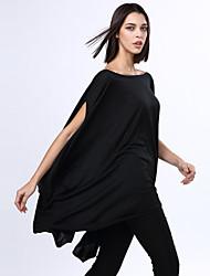 Robe Aux femmes Grandes Tailles Grandes Tailles / Décontracté , Couleur Pleine Col Arrondi Asymétrique Mélanges de Coton