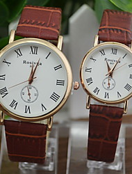 Couple's Dress Watch Fashion Watch Quartz Casual Watch PU Band Black White Brown Brand