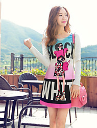 Pink Doll® Women's Round Neck Long Sleeve Above Knee Slim Printing Dress-X14CDR682