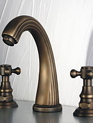 Widespread Two Handles Three Holes in Antique Bronze Bathroom Sink Faucet