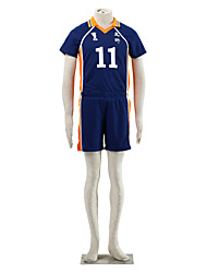 Inspired by Haikyuu Tsukishima Kei Anime Cosplay Costumes Cosplay Suits Color Block Blue / Orange Short Sleeve T-shirt / Shorts