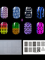 1PC Plastic Clear White Environmental  Nail Stamping Plate with Fashion Pattern. (KD-SM612-008)