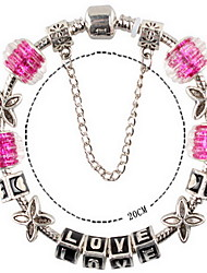 Rose Pink Fine Styly Beads Strand Bracelet with Beautiful Pendant Charm Bracelet