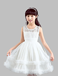 A-line Knee-length Flower Girl Dress - Cotton / Lace / Satin / Tulle Sleeveless Jewel with Embroidery