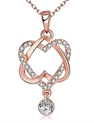 Women's Pendant Necklaces Zircon Cubic Zirconia Rose Gold Plated Heart Heart Fashion Rose Gold JewelryWedding Party Thank You Daily