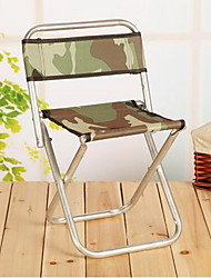 A Large Metal Chair And Portable Folding Stool