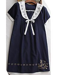 Tee Shirt Robe Maternité Décontracté / Quotidien simple,Broderie Col Arrondi Au dessus du genou Manches Courtes Bleu / Blanc Coton Eté