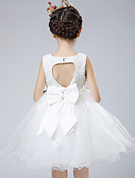 Ball Gown Knee-length Flower Girl Dress - Cotton / Lace / Organza / Satin Sleeveless Jewel with Bow(s) / Lace