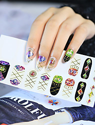 NEW Broken Glass Pieces Mirror Foil Tips Stencil Decal Nail Art Sticker Cute Tools 16Pcs/Sheet