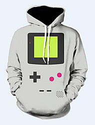 3D Hoodies Geometric Game Print Front Pocket Loose Fit Drawstring Hooded Long Sleeves Geeky Clothing For Male/Female